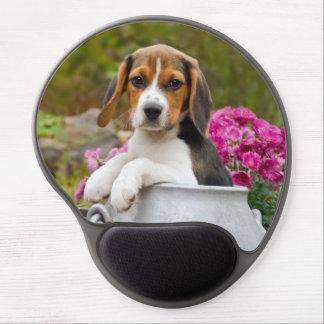 Cute Tricolor Beagle Dog Puppy in Churn ergonomic Gel Mouse Pad