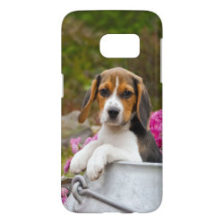 Cute Tricolor Beagle Dog Puppy in Churn  Phonecase Samsung Galaxy S7 Case