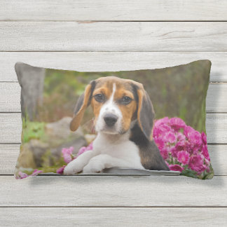 Cute Tricolor Beagle Dog Puppy Milk Churn  Outside Outdoor Pillow