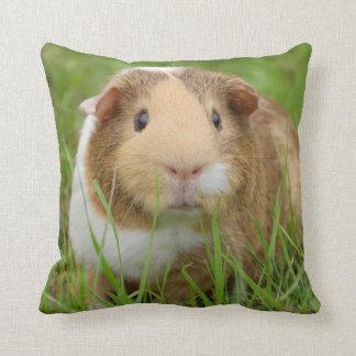 Cute Tricolor Guinea Pig in Green Grass Throw Pillow