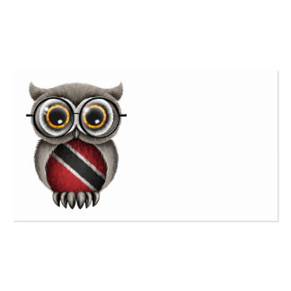 Cute Trinidad and Tobago Flag Owl Wearing Glasses Business Card