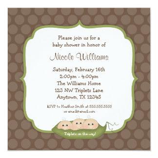 Cute Triplets Pea Pod Baby Shower 5.25x5.25 Square Paper Invitation Card