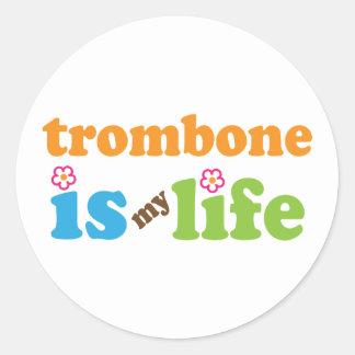 Cute Trombone is My Life Classic Round Sticker