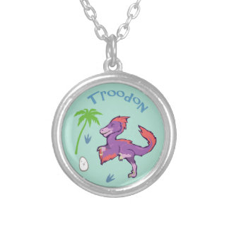Cute Troodon Silver Plated Necklace