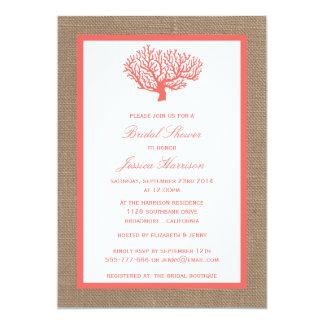 Cute Tropical Coral Beach Burlap Bridal Shower 5x7 Paper Invitation Card