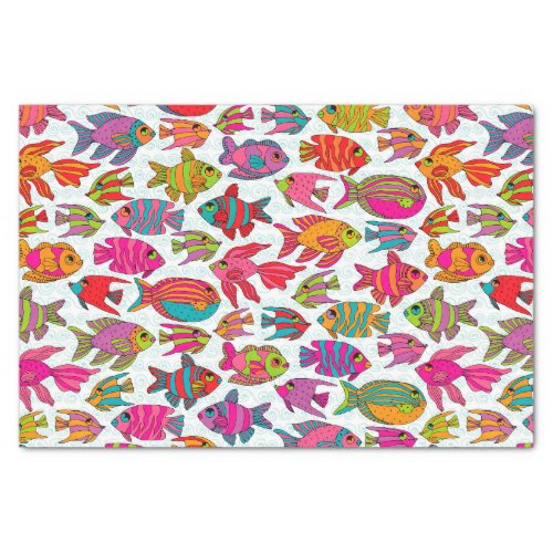 Cute Tropical Fish Pink Turquoise Green Pattern Tissue Paper