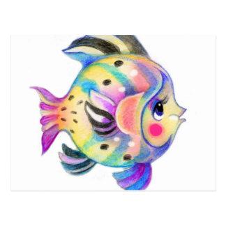 Cute Tropical Fishie Kawaii Postcard