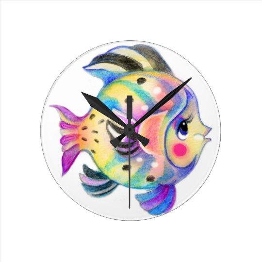 Cute Tropical Fishie Kawaii Round Clock