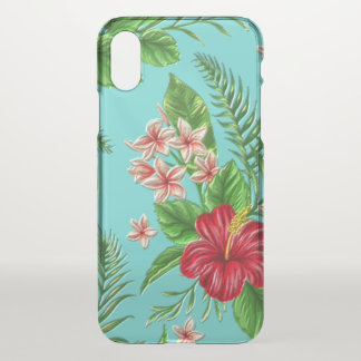 Cute Tropical Hibiscus Flower On Aqua Turquoise iPhone X Case