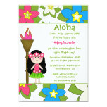 "Cute tropical hula girls birthday party invitation 5"" x 7"" invitation card"