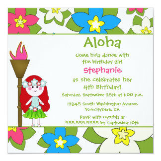 Cute tropical hula girls birthday party invitation