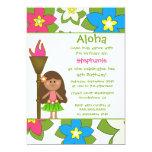 Cute tropical hula girls birthday party invitation