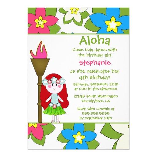 hula girl birthday party invitations