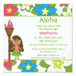 "Cute tropical hula girls birthday party invitation 5.25"" square invitation card"
