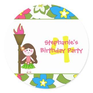 Cute tropical hula girls birthday party stickers sticker