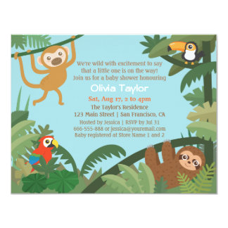 Cute Tropical Jungle Theme Baby Shower Invitations
