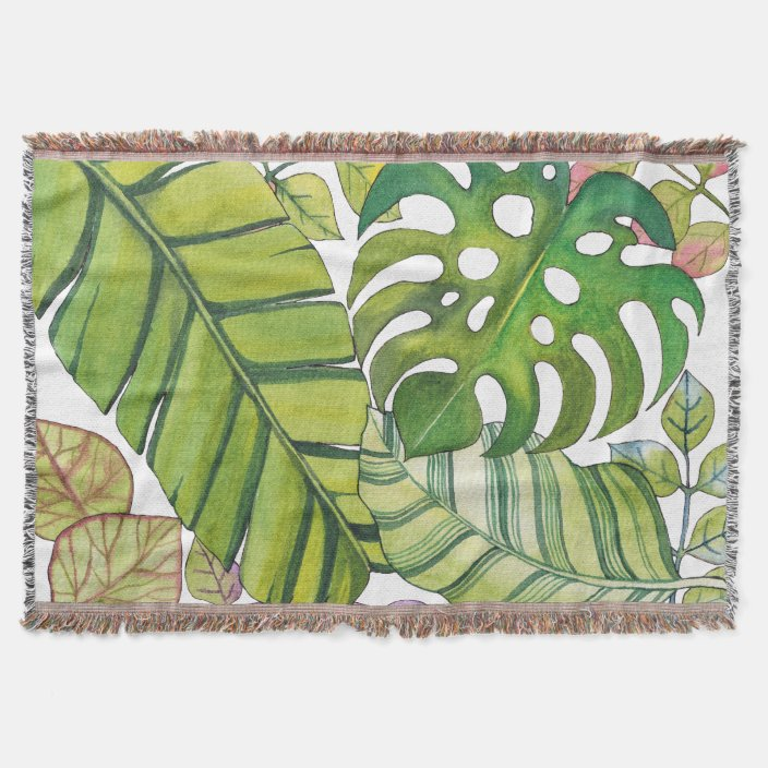 Cute Tropical Leaves In Watercolor Throw Blanket Zazzle Com