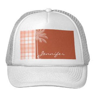 Cute Tropical Orange Plaid Mesh Hat