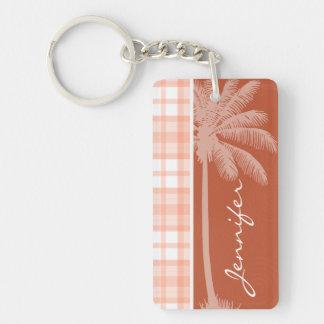 Cute Tropical Orange Plaid Key Chains