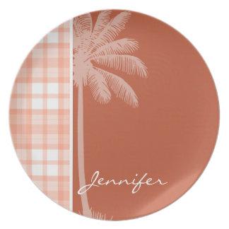 Cute Tropical Orange Plaid Plate