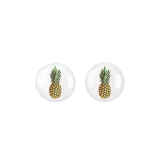 Cute tropical pineapple photo image stud earrings