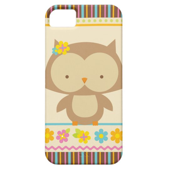 Cute tropical stripes owl girls iphone 5 case