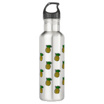 Cute Tropical Summer Fruits Pineapples Pattern Water Bottle