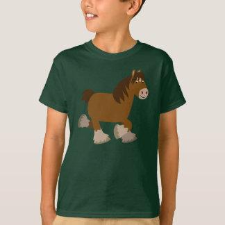 Cute Trotting Cartoon Shire Horse Children T-Shirt