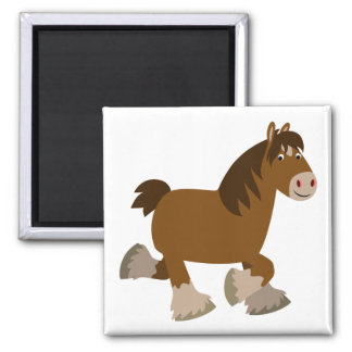 Cute Trotting Cartoon Shire Horse Magnet