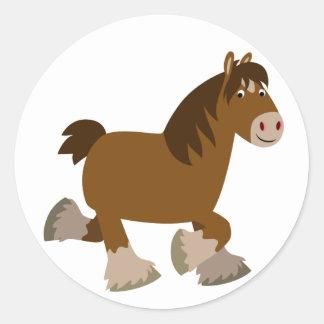 Cute Trotting Cartoon Shire Horse Sticker