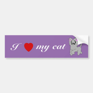 Cute Trotting Scruffy Cartoon Gray Kitten Bumper Sticker