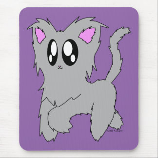 Cute Trotting Scruffy Cartoon Gray Kitten Mouse Pad