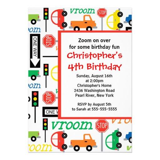 Shopping Cute Trucks Cars Birthday Party Invitation Kids