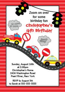 cars birthday invitations zazzle