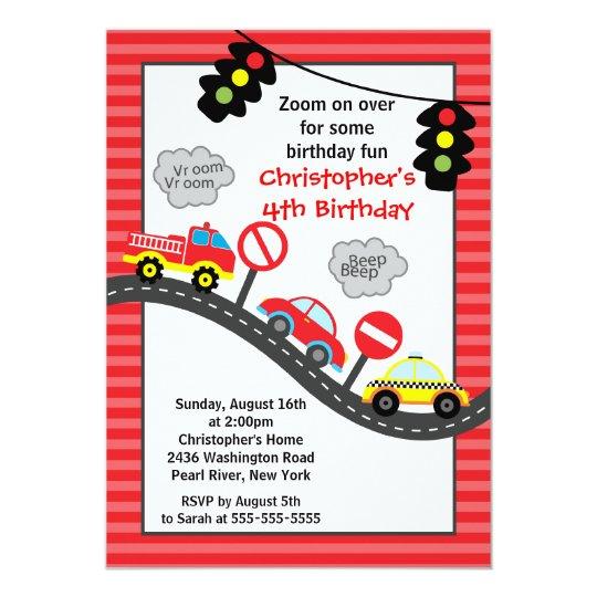 cute trucks cars birthday party invitation zazzle com