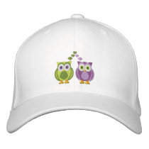 Cute True Love Owls Purple and Green Custom Embroidered Baseball Cap