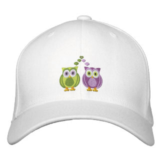Cute True Love Owls Purple and Green Custom Embroidered Hat