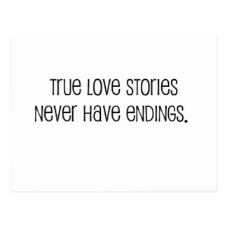 """Cute, """"True love stories"""" marriage quote Postcard"""