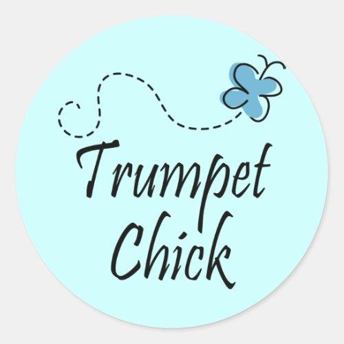 Cute Trumpet Chick Music Classic Round Sticker