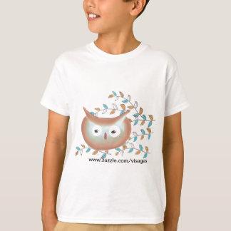 Cute Tshirt Owl Picture in Brown & Teal