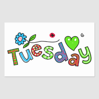 Cute Tuesday Week Day Greeting Text Expression Rectangular Sticker