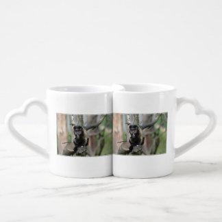 Cute Tufted Capuchin Monkey Couples' Coffee Mug Set