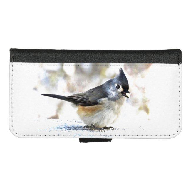 Cute Tufted Titmouse Bird iPhone 8/7 Wallet Case