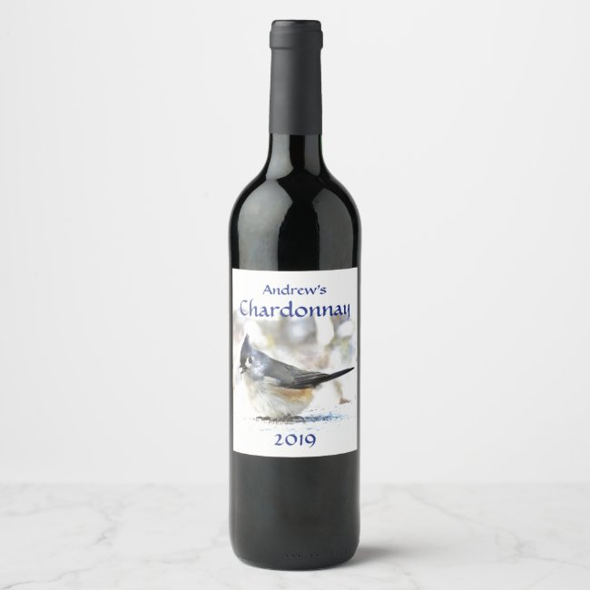 Cute Tufted Titmouse Bird Wine Label