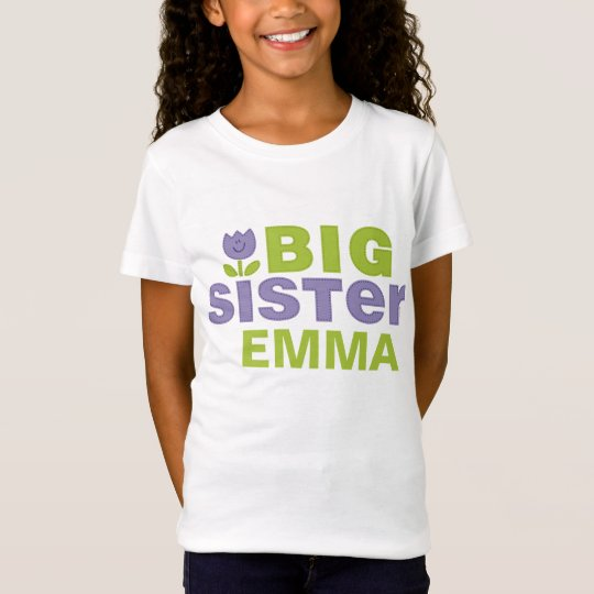 Cute Tulip Big Sister Personalized T-Shirt