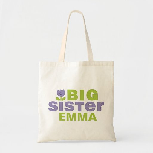 Cute Tulip Big Sister Personalized Tote Bag