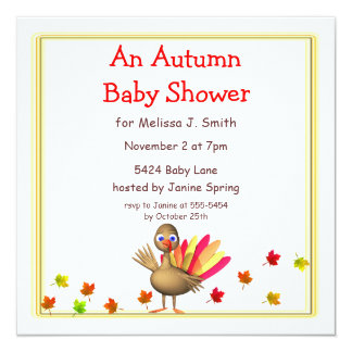 Cute Turkey Autumn Baby Shower Card