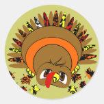 Cute Turkey Classic Round Sticker