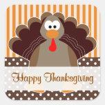 Cute Turkey Happy Thanksgiving Flat Card Sticker