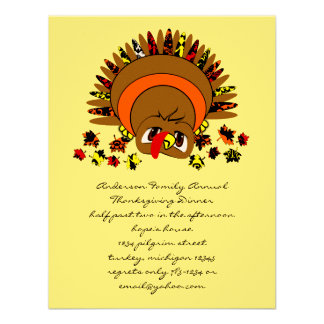 Cute Turkey Personalized Announcements